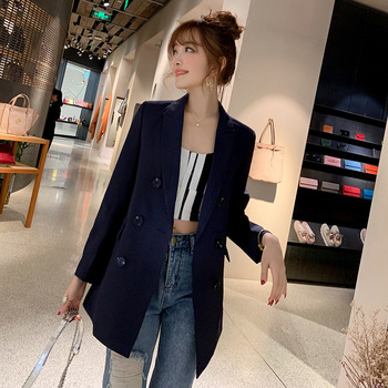 Spring  2020 Korean Womens Long-sleeved Slim Female Suit Long Section Small Jacket Wild Professional Casual