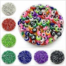 Miçangas espaçadoras para fazer jóias, 50 pçs/lote 8mm forma oval esferas evaculação olho colar encantos