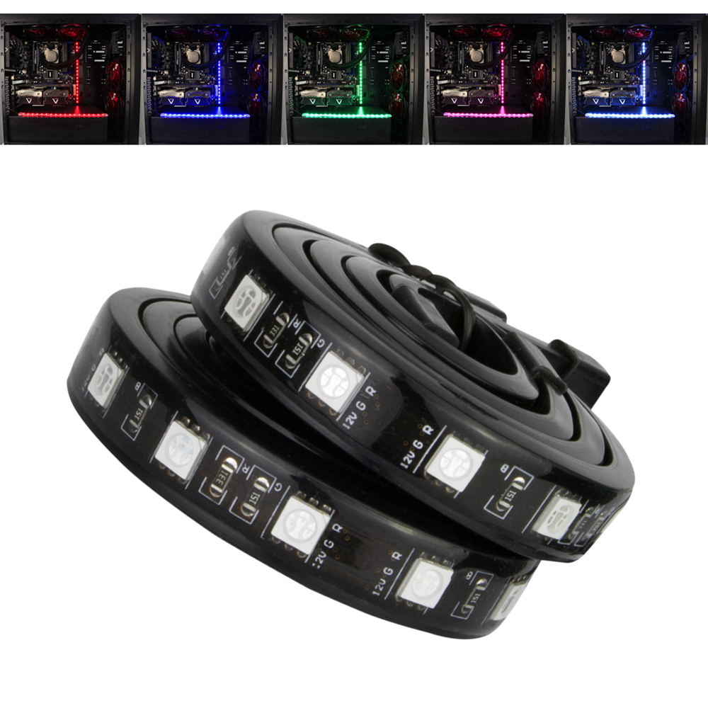 ana pires короткое платье ALSEYE Computer LED case light (5 pires) silicone RGB led strip magnetic waterproof 12v 30cm backlight strip light