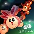 2017 3M 220V 20Pcs Pink Rabbit Night lamp Kid Children Room Decor Paper String Lighting Holiday lights EU/UK Plug Luminaria