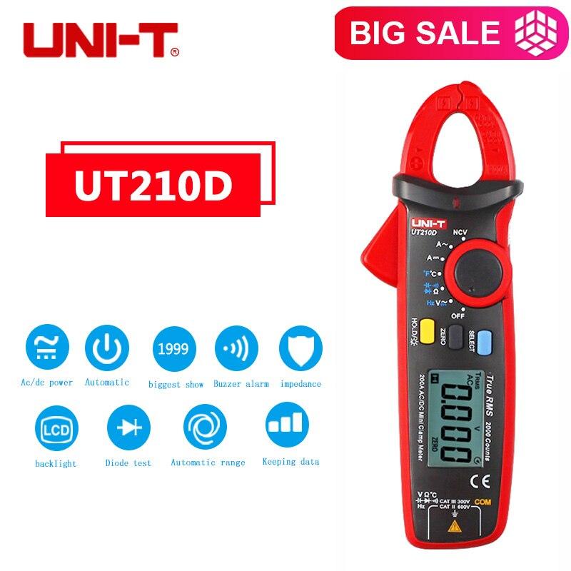 UNI-T UT210D rango automático medidor de temperatura de capacitancia UT210D multímetro pinza AC/DC tensión corriente pinza multímetro