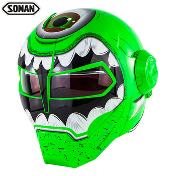 SOMAN Personalized Graffiti Motorcycle Helmet Robot Motor Bike Flip up Helm Skull Capacetes Iron Man Casco DOT Approval SM515