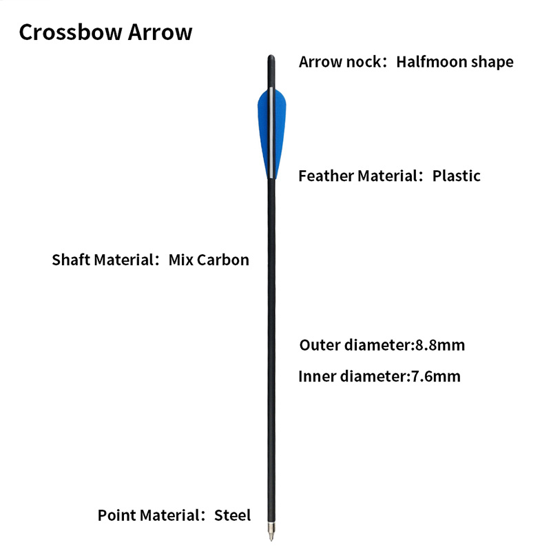 12pcs 22inch Crossbow Arrow Composite Carbon Arrow Bolt Release Arrows Nock Tail For Crossbow Hunting Archery Accessories