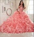 DK Nupcial de Moda de Nova Duas Peças Babados de Organza Quinceanera Vestidos Da Princesa Do Vintage Doce 16 Vestidos de Baile