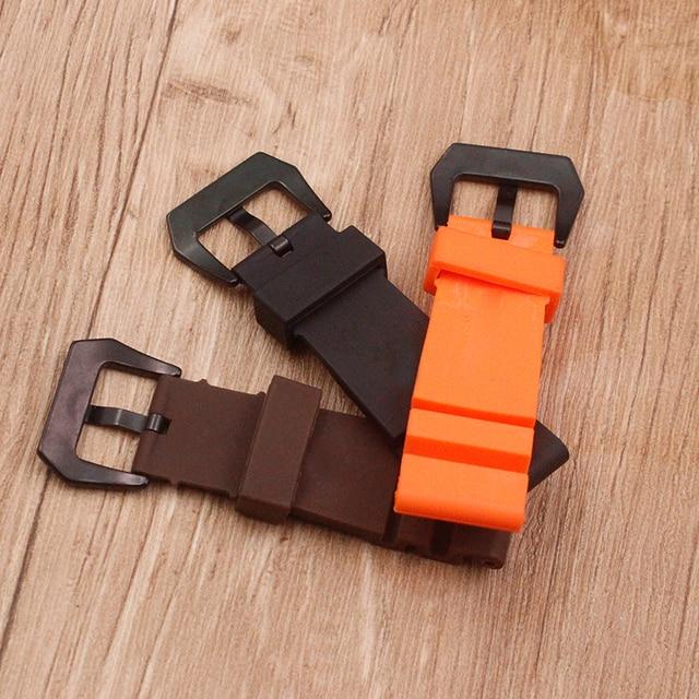 Watch accessories sweat-absorbent silicone strap for Panerai 1950 series PAM00616 00682 waterproof rubber 24mm men's watch belt 1