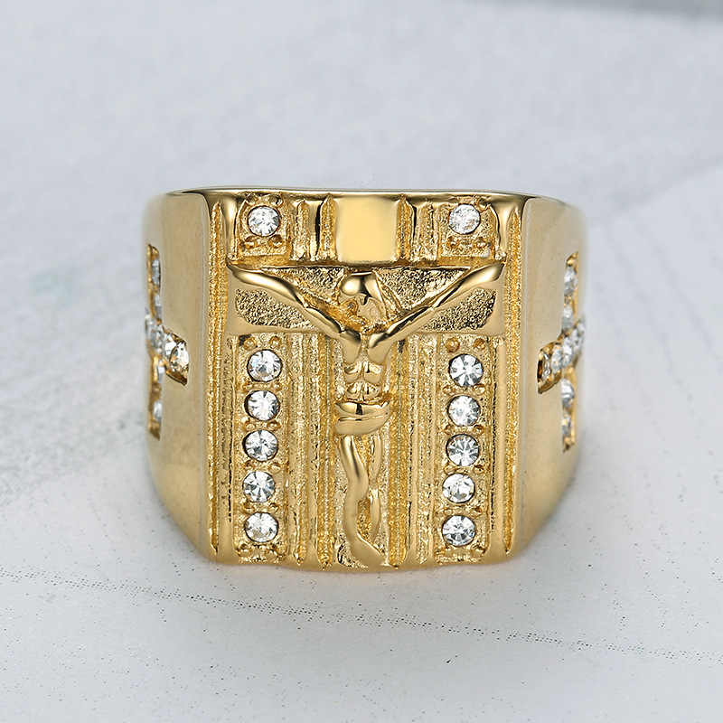 HNSP พระเยซู Cross Gold แหวนผู้ชายแฟชั่นเครื่องประดับแหวน Anel