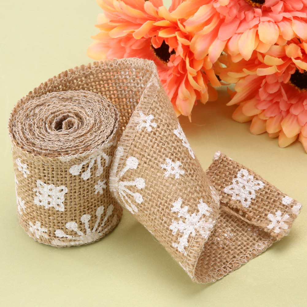 1 roll 5m long vintage jute hessian burlap ribbon belt handmade christmas wedding decoration ribbon snowflake printed width 6cm in party diy decorations