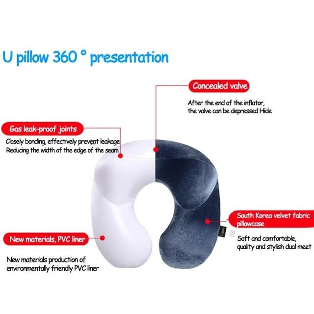 Office Flight Traveling Neck Rest Velvet Inflatable Car Neck Air Pillow U-shaped Cushion Outdoor Travel Portable Pillow Sleeping 8