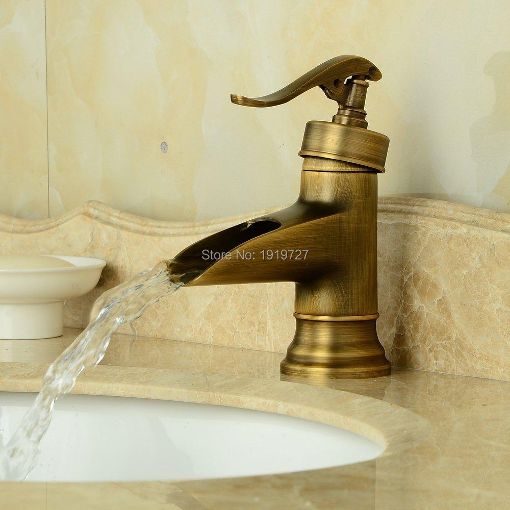 Bathroom faucet deck mounted brass bath spout modern bathroom faucets - Antique Brass Finish Deck Mount Basin Mixer Taps Centerset Single Handle Rustic Lavatory Vanity Sink Faucet