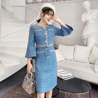 Luxury Designer Blue Weave Tweed Dress Office Lady Elegant Pearls Single Breasted Straight Split Tweed Woolen Dress