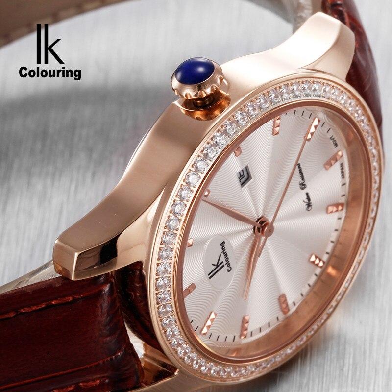 Ik for quartz watch rhinestone fashion ladies watch genuine leather ladies watch strap watch waterproof
