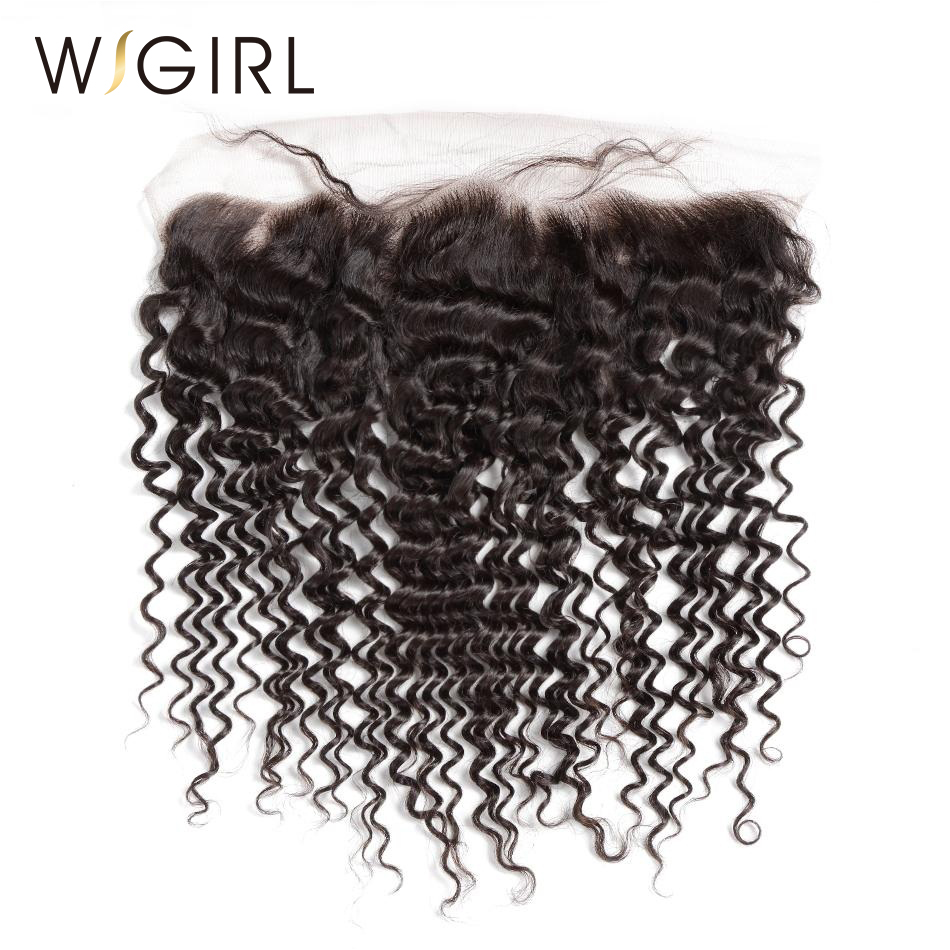 Wigirl Hair Deep Wave Lace Frontal Closure Brazilian Remy Human Hair with Baby Hair 130 Density