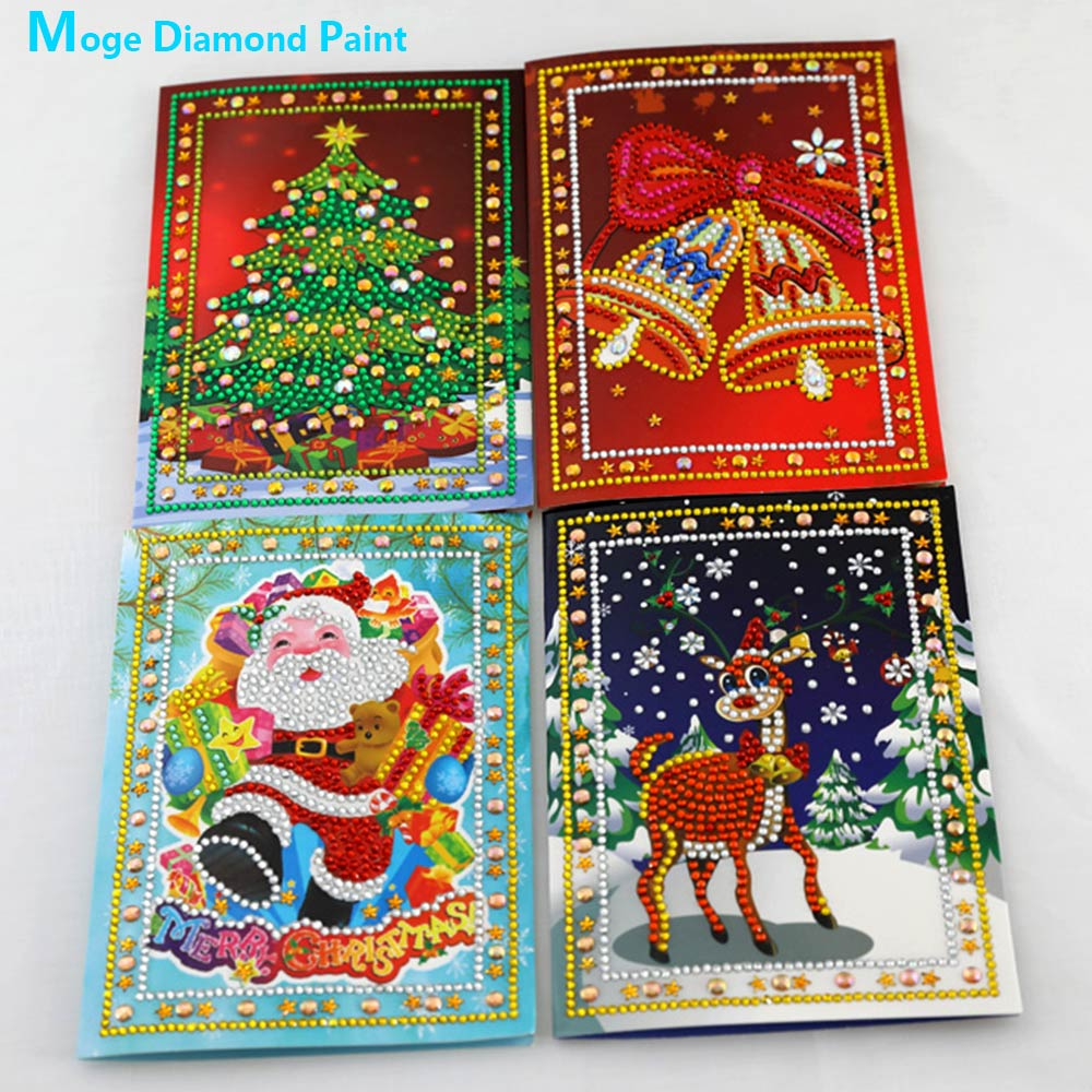 Christmas Card Diamond Painting Partial Round Invitation Cards New DIY Sticking Drill Cross Embroidery 5D Cartoon Children Gift