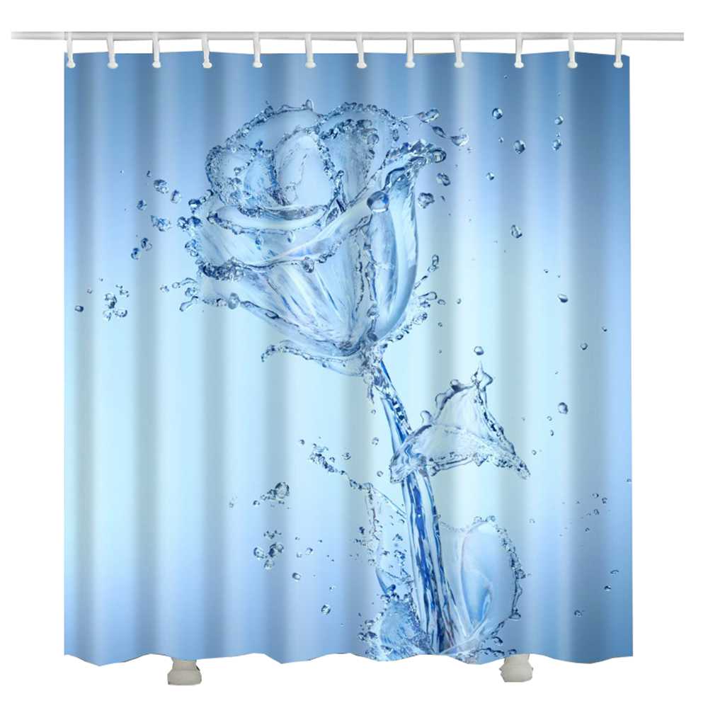 Rideau Douche Design Us 8 74 8 Off Rose Bath Curtain Rideau Douche 3d Curtains For Bath Room New Design Water Rose Flower Bath Shower Curtain In Shower Curtains From