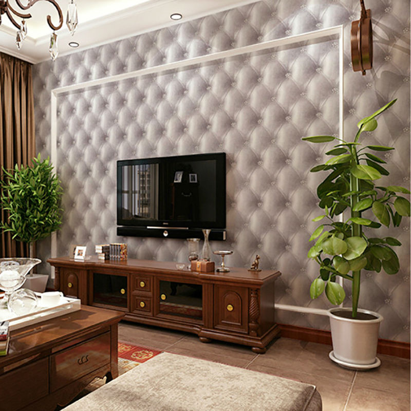 3D European-style Modern Imitation Leather Wallpaper Roll for Walls Background Living room and Bedroom non woven bubble butterfly wallpaper design modern pastoral flock 3d circle wall paper for living room background walls 10m roll