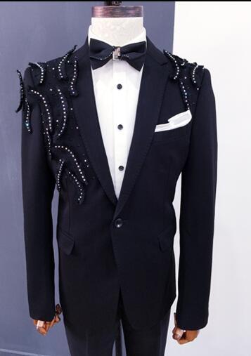 Vêtements noirs hommes costumes designs masculino homme terno scène costumes chanteurs veste hommes paillettes blazer danse star style robe - 3