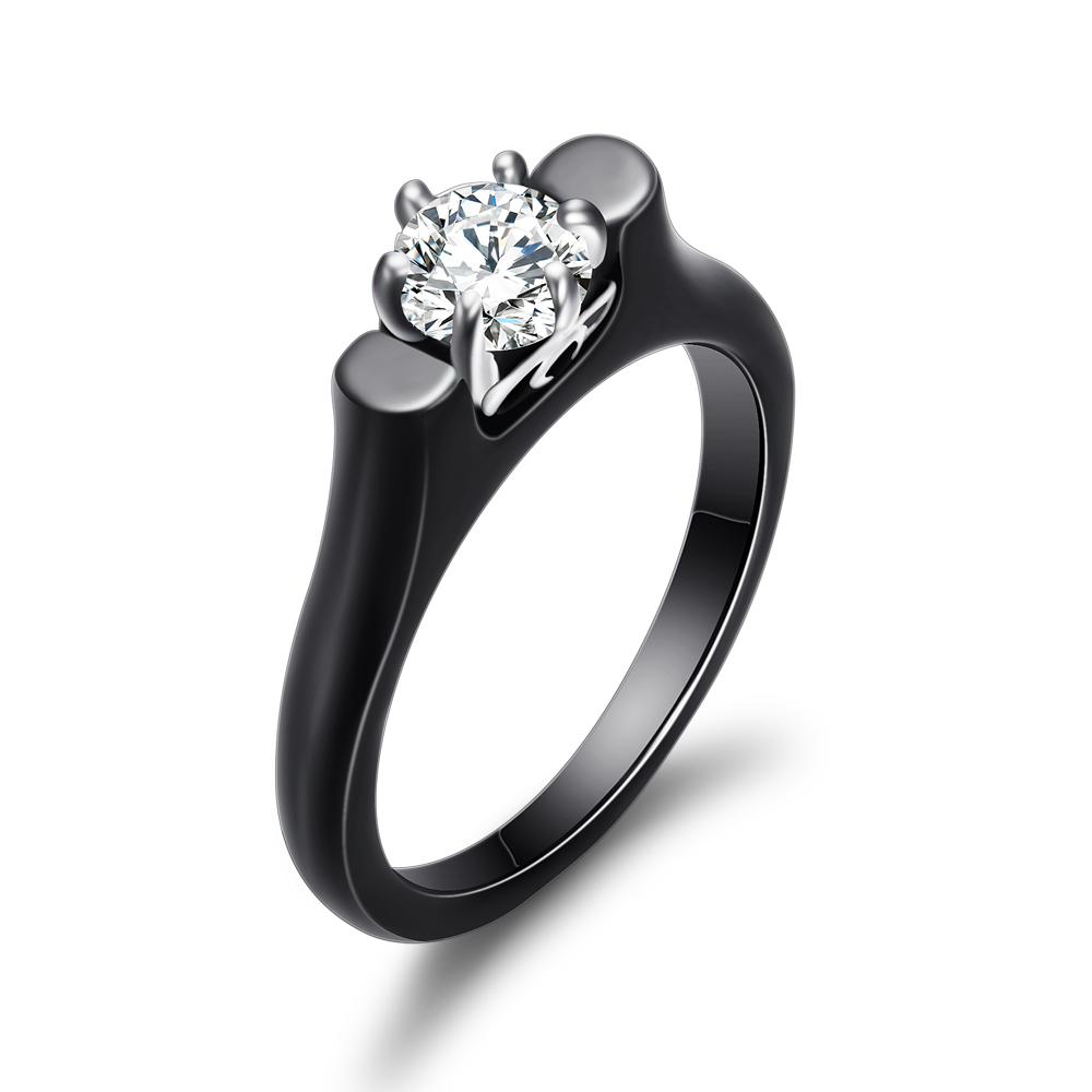 6MM Crystal Ceramic Ring Woman Cubic Zirconia Stone Black/White Color Women Jewelry Engagement Wedding Rings Gifts For Women 5