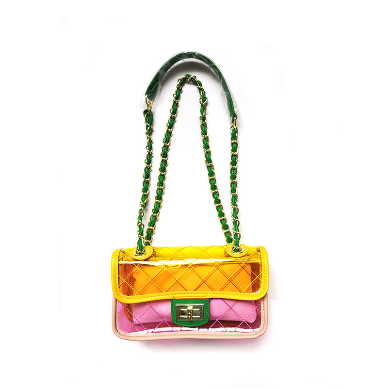 Women Plastic Messenger Handbag Transparent Laser Handbag Clutch Shoulder Crossbody Bag Chain Bag Clear Bag Evening Purse все цены