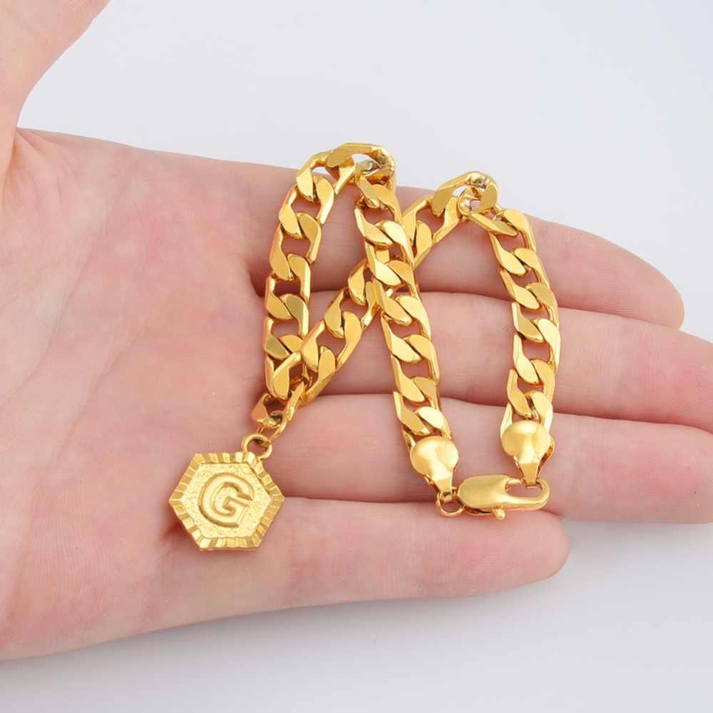 Anniyo (długość 21 cm) A-Z 26 bransoletka z literami początkowa dla kobiet mężczyzn moda angielski alfabet łańcuch bransoletki biżuteria prezenty #137006