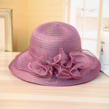 88c6c701e74 QINGLV005 Summer Women s Lace Sun Hats New Round Wide Brim Straw Paper  Floral Caps Beach Holiday