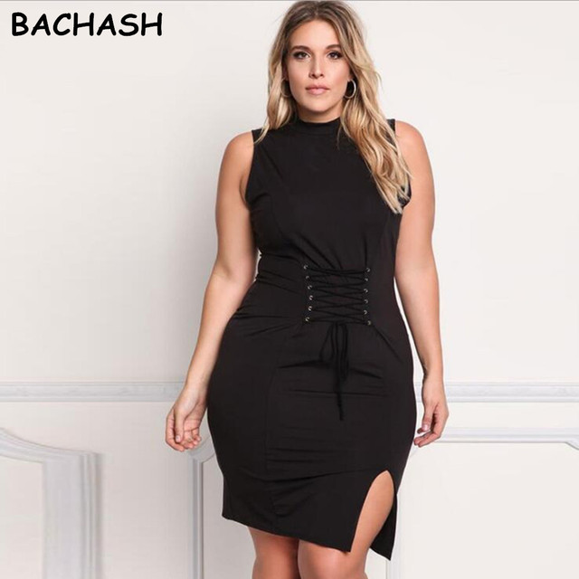 Bachash Plus Size Fashion 2018 Summer Sleeveless Sexy Big Size Dress