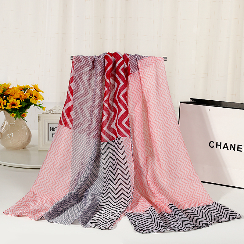 Wave Pattern Zig Zag Print Winter Spring   Scarf   Shawl For Women Viscose Ladies Hijab Soft   Scarves     Wrap   Wholesale G4-1