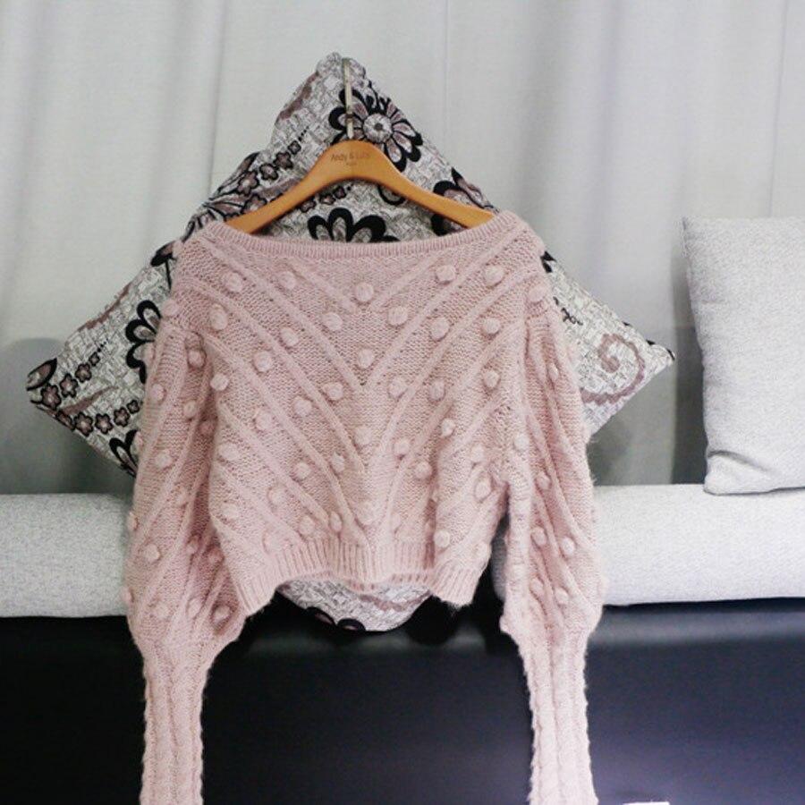 Di Autunno Pezzo Lanterna inverno Nuovo Pannello Manicotto sweater Donne  Della Top Merletto E Gonna Delle Esterno Rosa Increspato Maglione ... d5e04eefae8