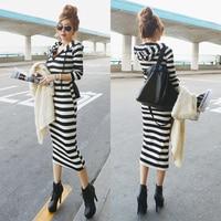 2015 Spring Female Fashion Slim Stripe Long Sleeve With A Hood Full Dress Sports Casual One