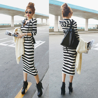 2015 Spring Female Fashion Slim Stripe Long Sleeve With A Hood Full Dress Sports Casual One