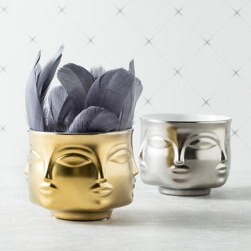 Ceramic Face Multi sided Flower Pot Vase Flower Ware Home Decor Golden Sliver White Black Ornaments