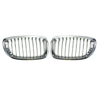 Pair Chrome Front Sport Wide Kidney Grilles Grill For BMW E46 3 Series 2 Door 2002