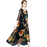 Plus Size Boho Long Dress Women Sexy V neck Beach Summer half sleeve Dresses Floral Print Vintage Chiffon Maxi Dress vestidos