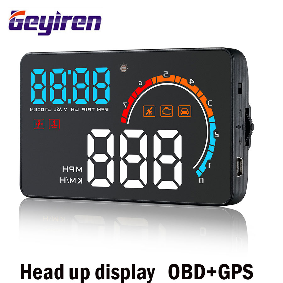 Geyiren Head-Up Дисплей OBD2 + gps двойной Системы Универсальный бортовой компьютер HUD автомобиль Скорость лобовое стекло Проектор по Скорость alaram