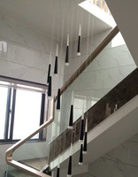 2 5M Spiral Staircase black tube led light Luminaire stairwell Modern double head Led strip cone lamp Aluminum Pendant Lights