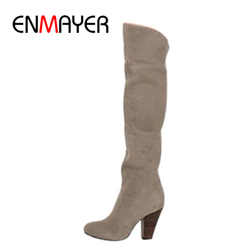 ФОТО ENMAYER Fashion Women Boots Shoes Black Suede High-heeled Knee Boots Knight Platform Women Boots 3 Colors Women Motorcycle Boots