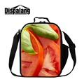 Dispalang Insulated Lunch Cooler Bags for Children Cute Orange Chocolate Printed Lunch Container for Girls Messenger Lunch pack