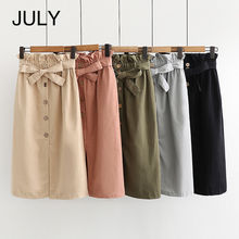 JULY Long Skirt Women 2019 Spring Summer Split Korean Elegant skirt tie with high-waisted skirt Red black School Skirt Female stylish women s high waisted buttons embellished flare skirt
