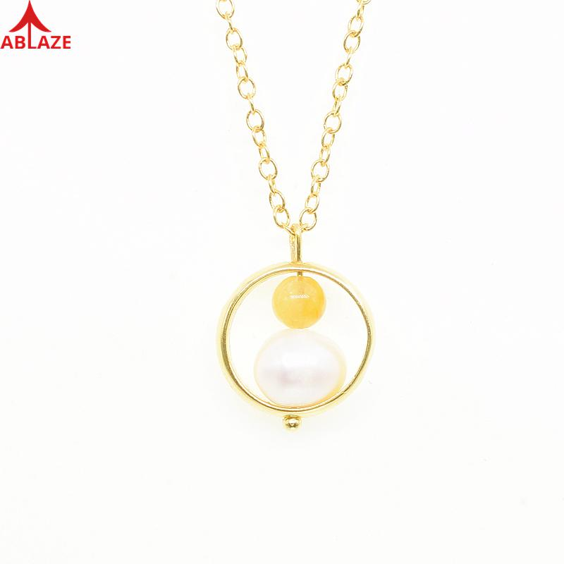 June Birthstone Natural Freshwater Pearls Pendants Necklaces 24k Gold 925 Sterling Silver Yellow Jade Fine Jewelry Women #d015n