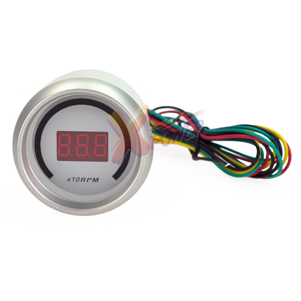 hight resolution of xpower white auto car 2 52mm tacho tachometer red digital color 20 led rpm gauge meter
