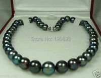 Lady S Gift Jewelry 9 10mm Black Tahitian Cultured Pearl Necklace 18 AAA Silver Hook Wholesale