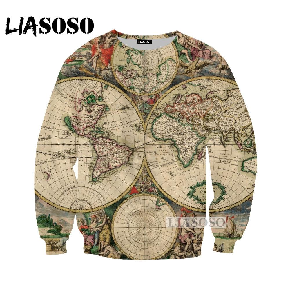 World Map Sweater.Liasoso 2018 Summer Harajuku Cartoon World Map Tshirt 3d Print T