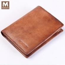 MONOLETH Genuine Leather Bifold Wallet For Men Vintage Wallet ID Credit Card Clutch Coin Purse Zipper Purse Chain Wallet W2003-2
