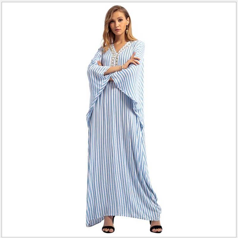 2019 Stripe Beading women dress Dubai Islamic Arab Kaftan Muslim Women  Jilbab Long Dress Abaya Maxi b919690f1ce7