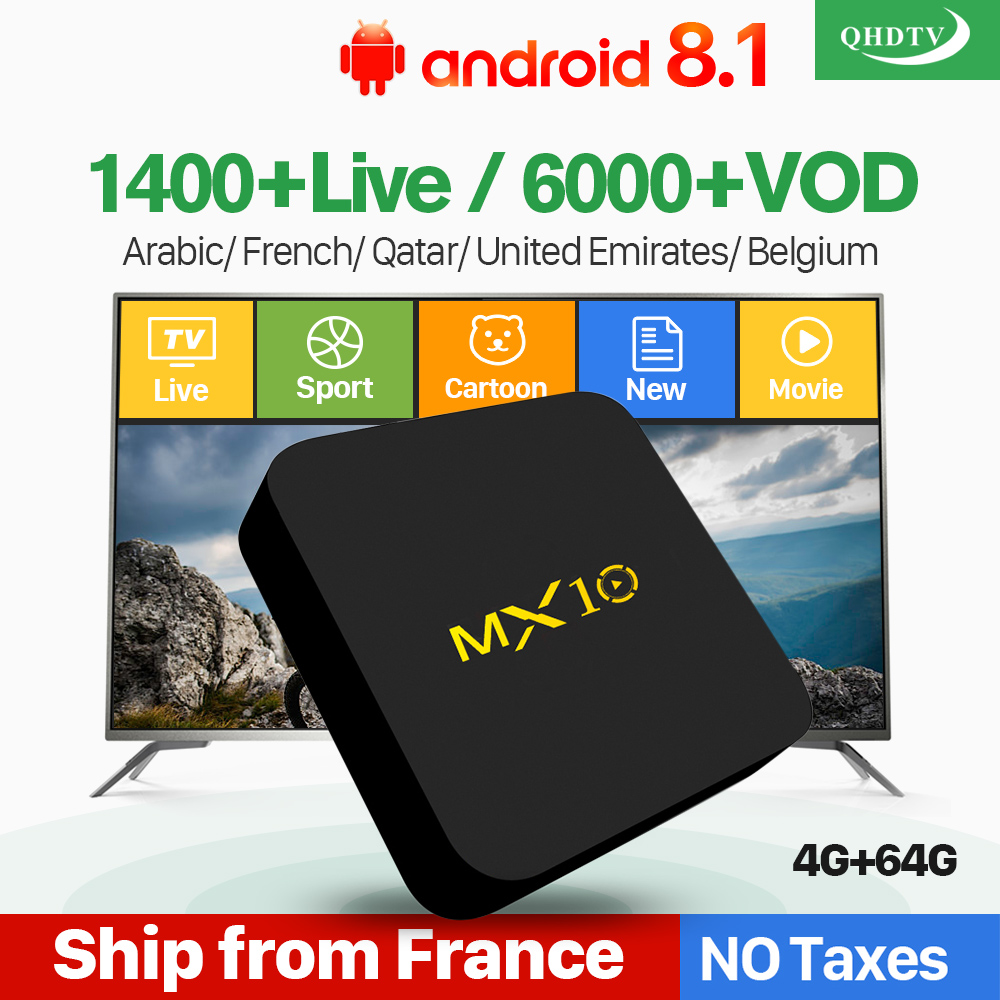 Arabic IPTV France QHDTV 1 Year MX10 Android 8.1 4+64G UK Italy Netherlands Belgium French QHDTV IP TV Box IPTV Subscription
