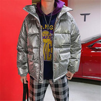 2018 New Hip hop Cool Glow Men's Fashion Cotton Coat Fashion Alphabet Printed Youth Simple Coat HY003 P135