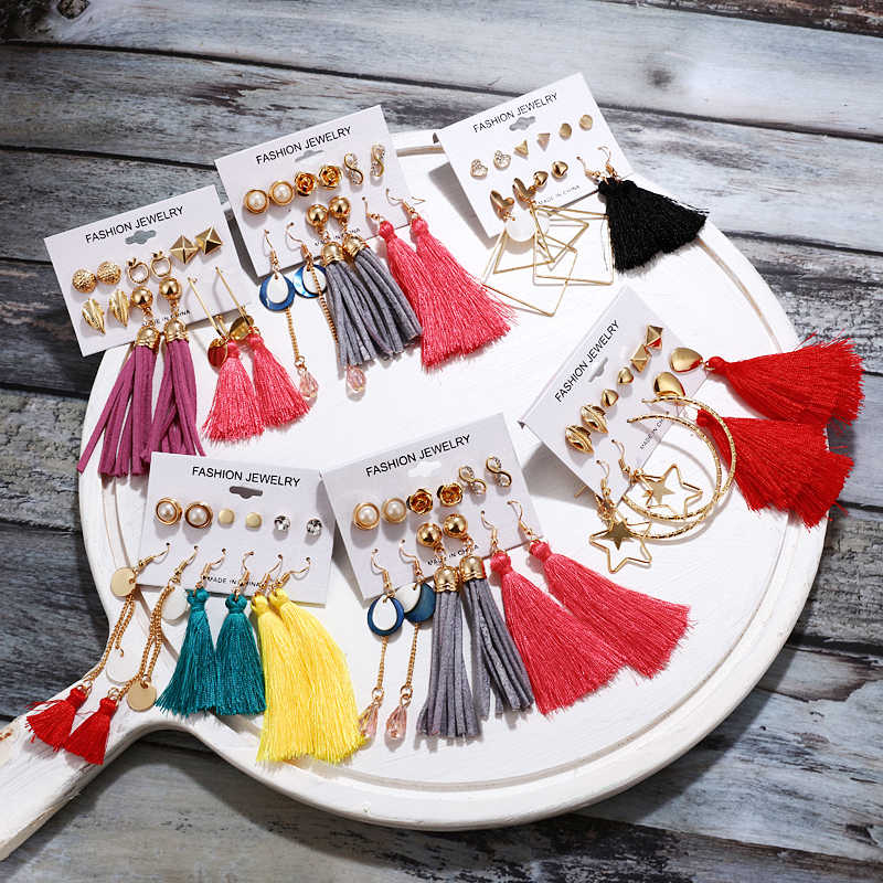 Vintage Geometric Tassel Dangle Earrings For Women Gold Color Leaf Heart Flower Statement Drop Earring Brincos Jewelry NEW
