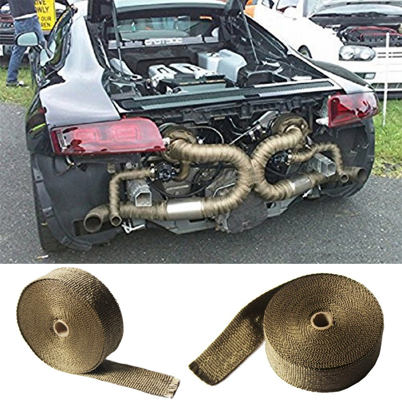 5cm*15m Auto Exhaust Pipe Wrap Heat Insulation Tape with 6pcs Metal Strip For Car Motorcycle Car Accessories
