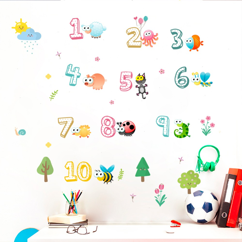 Funny insect numbers 1 to 10 wall sticker kids rooms home decor living room decoration accessories wallpaper decals