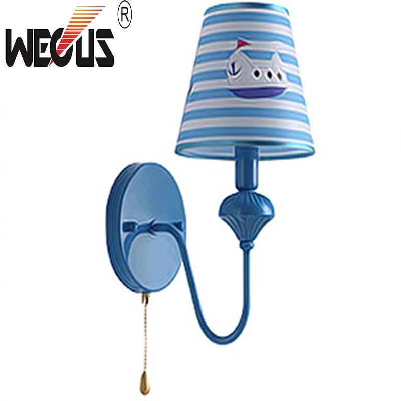 Wecus cute blue wall light boy children room bedside sconce Study background lighting ramadan decoration