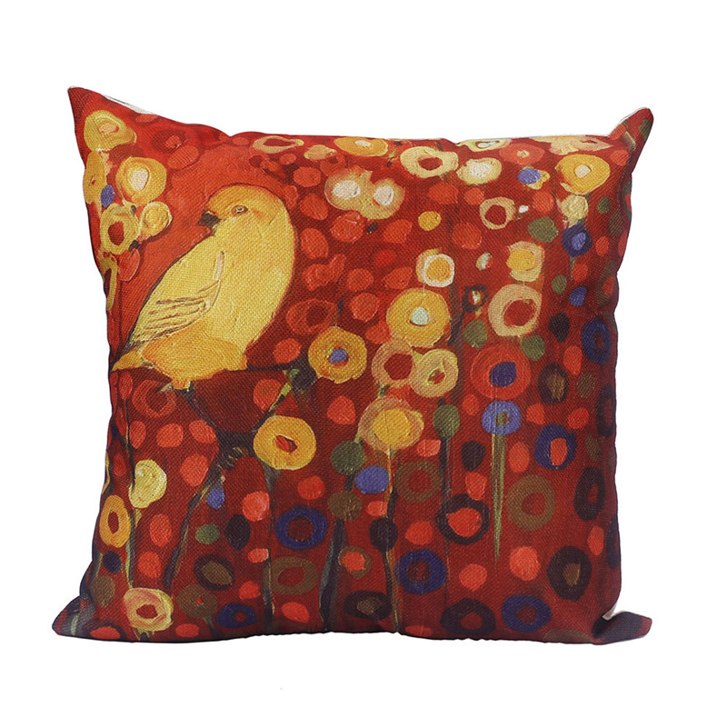 1PC Bright Flower Birds pillowcase cotton autumn style throw waist cushion pillowslip cover square drop shipping on sale